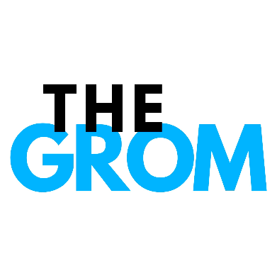 This image is a 2D design with the words The Grom on it. The grom is surf packages for children wanting to learn to surf.